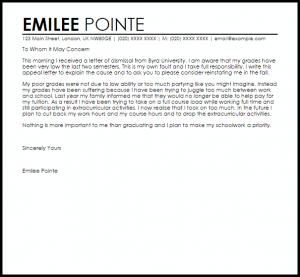 unemployment appeal letter academic dismissal appeal letter