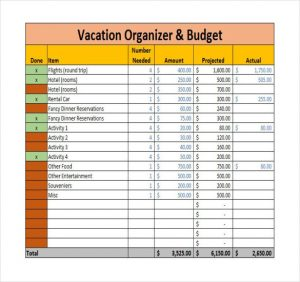 vacation budget planner vacation organizer budget planner template