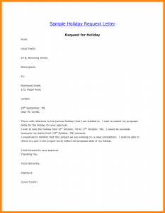 vacation request letter sample of vacation leave letter