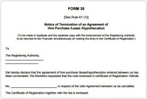vehicle sale agreement rto form template sample termination of agreement hire purchase lease hypothecation pic
