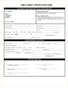 verification of employment form template employment verification form template