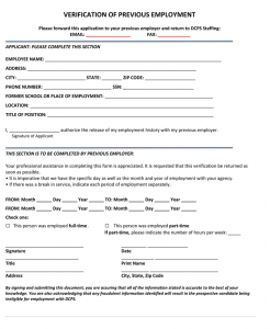 verification of employment form template previous employment verification form