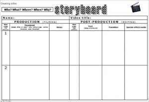 video storyboard template free video storyboard template word format download