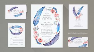 vintage thank you cards bohemian feathers wreath wild and free wedding invitations