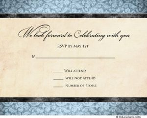 vintage thank you cards modern square wedding reply card blue damask ivory front