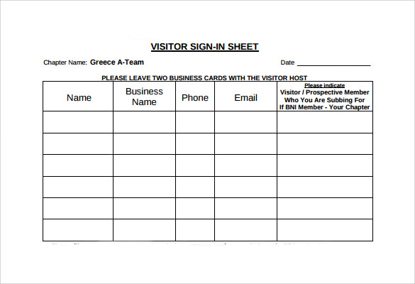 visitor sign in sheets