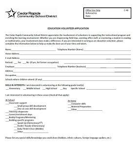volunteer application form applicationform