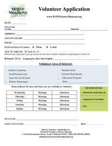 volunteer application form volunteer application