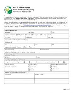 volunteer application form volunteer application form