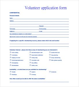 volunteer application form volunteer personal application form template pdf printable