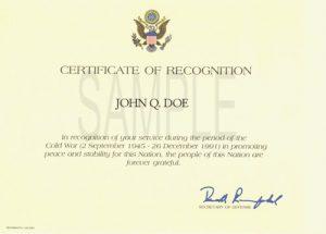 volunteer application template cold war recognition certificate