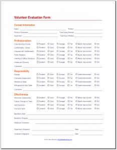 volunteer application template volunteer evaluation form x