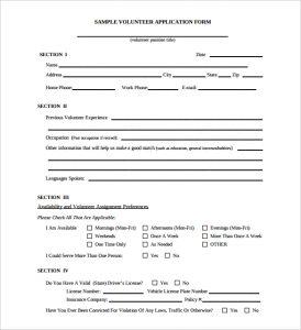 volunteer forms template free download volunteer registration application form template