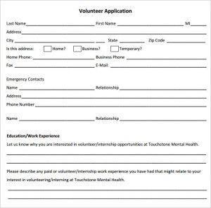 volunteer forms template volunteer application template download