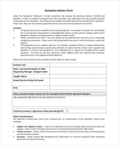 waiver form template printable quotation waiver form