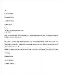 warning letter to employee employee warning letter