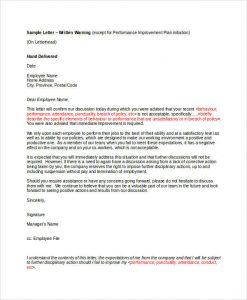 warning letter to employee employee written warning letter template