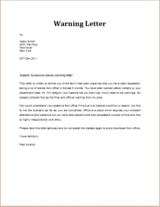Warning Letter To Employee | Template Business