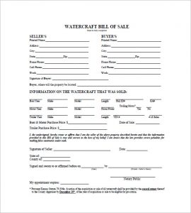 watercraft bill of sale personal watercraft bill of sale