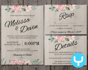 wedding announcement templates printable floral wedding invitation kit templates rsvp details