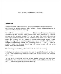 wedding ceremony outline gay wedding ceremony outline template