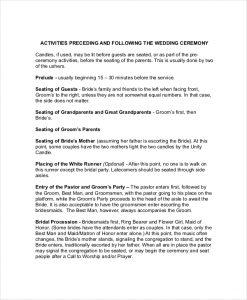 wedding ceremony outline sample wedding ceremony outline template