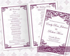 wedding ceremony template diy printable wedding ceremony program template printable ceremony program foldover victorian florals in plum