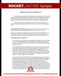 wedding certificate template sample wedding planner agreement form template