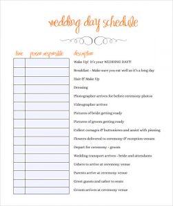 wedding day schedule template wedding schedule template pdf