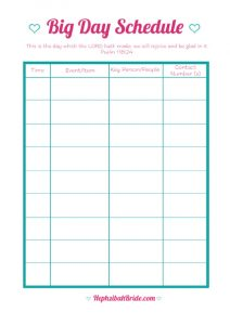 wedding day schedule templates free printable wedding day schedule