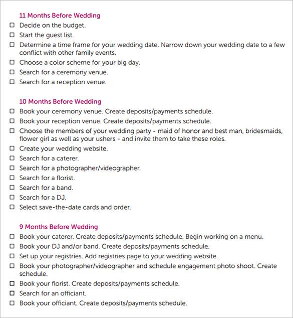 wedding day schedule templates