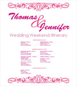 wedding itinerary template free download wedding itinerary template