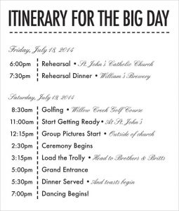 wedding itinerary template print ready wedding itinerary template download