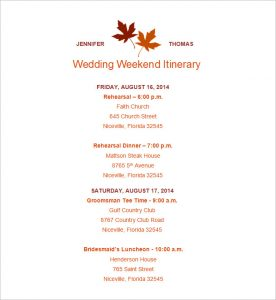 wedding itinerary template wedding itinerary template free download