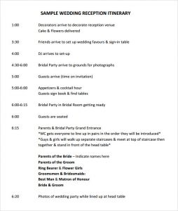 wedding itinerary template wedding reception itinerary template