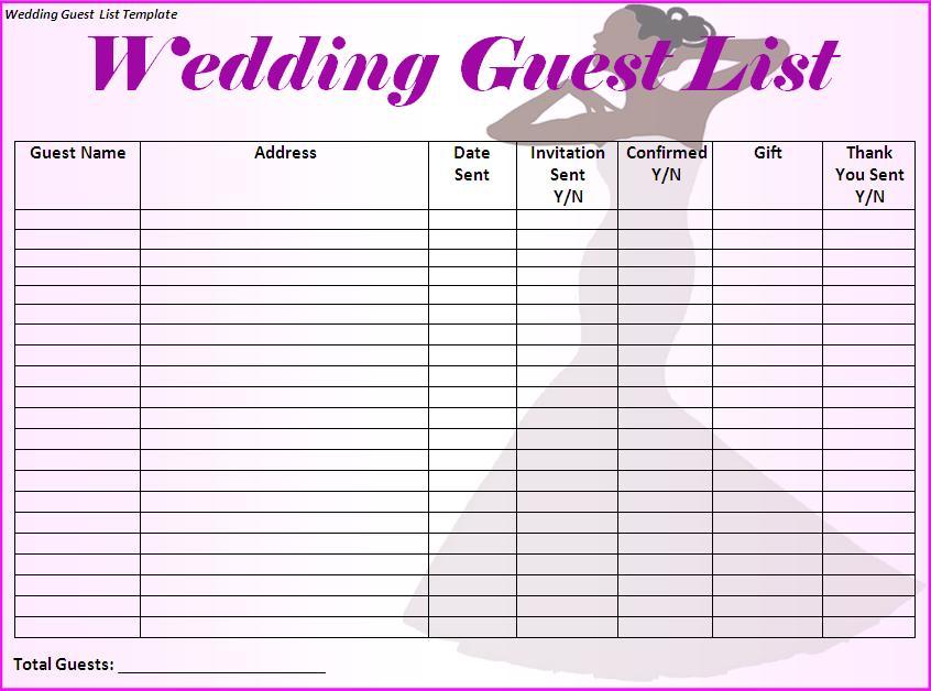 wedding list template
