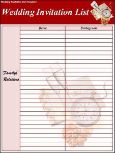 wedding list template wedding invitation list template