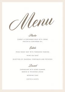 wedding menu samples luxe menu x