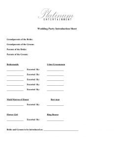 wedding order of service template wedding party intro sheet