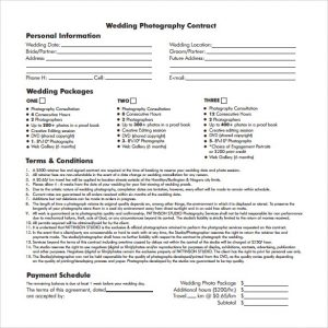 wedding photography contract pdf wedding photography contract template