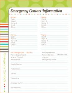 wedding plan templates emergency contact template