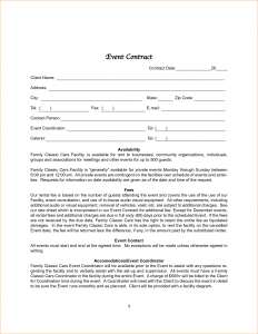 wedding planner template event contract template
