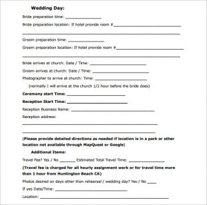 wedding planner template sample wedding contract
