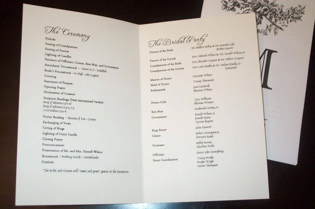 wedding program sample