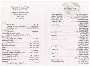 wedding program sample wedding program samples