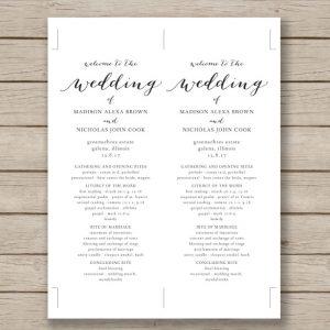 wedding program template word print ready wedding program template download