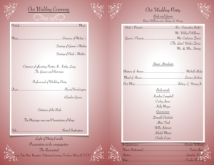 wedding programme design ravon wedpr