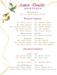 wedding programme design wedding entourage doves