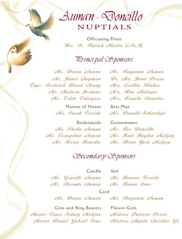 wedding programme design