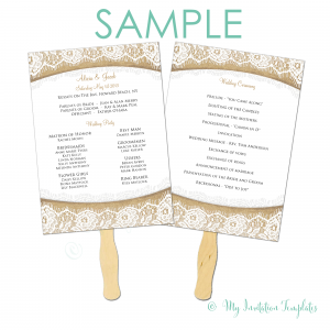 wedding programs fans templates burlap and lace rustic wedding program fan sample template